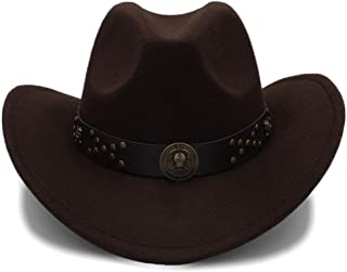 TIEDAN Summer western cowboy hat knight hat outdoor hat sun hat men and women breathable hat-brown/_One size 58cm