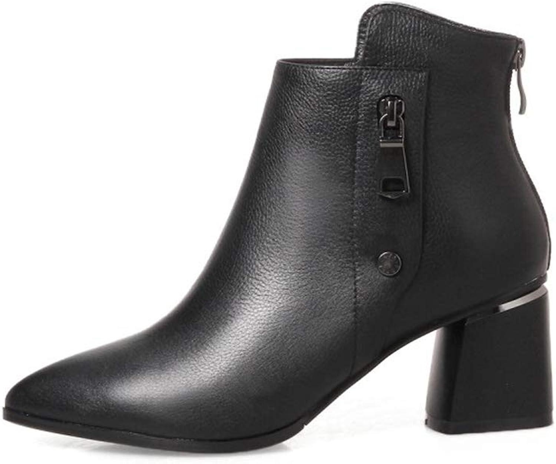 Women's Ankle Boots, Fashion Ladies' Boots Autumn Winter European Zipper Leather Rough High Heels Dress shoes (color   A, Size   36)