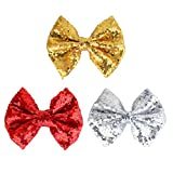 Glitter Sequins Hair Bow Clips Gold Toddler Girls Children's Day Silver Cheer Bow Fully Lined Alligator Pins 4 ' Bling Fancy Red Sparkle Barrettes Little Girls Teens Kids Baby Shows 4th Of July Stuff Fashion Christmas Diamond Bows Hair Accessories for Holiday,Daily Life,Travel,Dance Recital,Birthday Shirt,Themed Party Festivals Outfit Gift Set 3 Pack