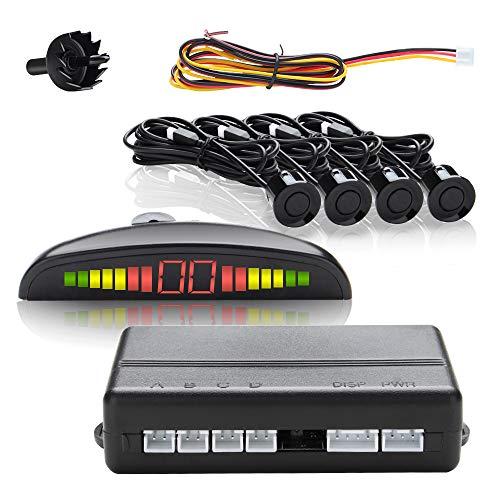 wolketon EinparkhilfeRückfahrwarner PDC + LED Farb Display KFZ Summer 4 Sensoren 4 hinten