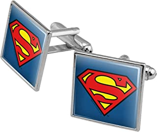 GRAPHICS & MORE Superman Classic S Shield Logo Square Cufflink Set - Silver or Gold