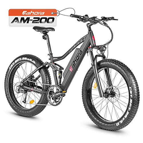eAhora AM200-26'X4.0' Fat Tires 500W Electric Mountain Bike - Dual Hydraulic Brakes/Full Air Suspension/48V 10.4Ah Battery/E-PAS Tech/9 Speed Shimano Transmission System/Colored Display Screen