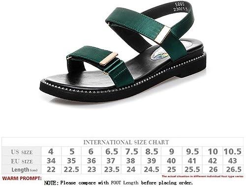 WJP Sandales pour femmes - Sandales plates d'été, pantoufles de plage extérieures à bout ouvert, sandales durables en semelle extérieure - Marche, Voyage Usure antidérapante vert   38