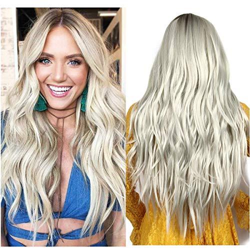 Perücke Grau Blond Damen Lang locken gewellte Kunsthaarperücke für Frauen Mittelteil Mode Super Natürlich Wig Hellblond VD051