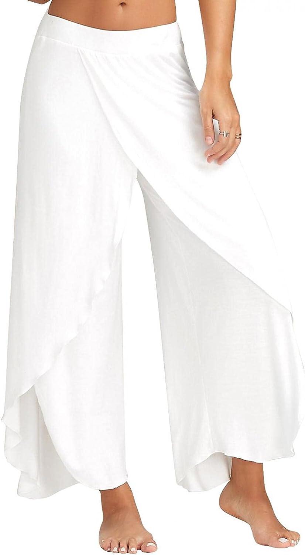 XUNFUN Wide Leg Lounge Yoga Pants for Women High Slit Elastic Waist Casual Hippie Solid Stretch Palazzo Trousers Sweatpants