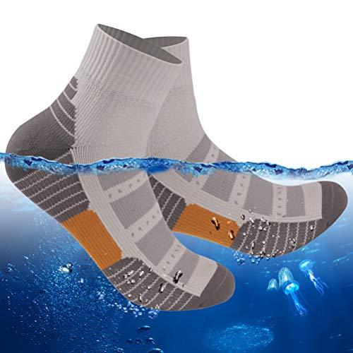 RANDY SUN Waterproof Mid Calf Socks, Womens Thin Winter Golf Rain Gear Ski Biking Snowboarding Sport Socks for Ladies 1 Pair (Grey,Small)