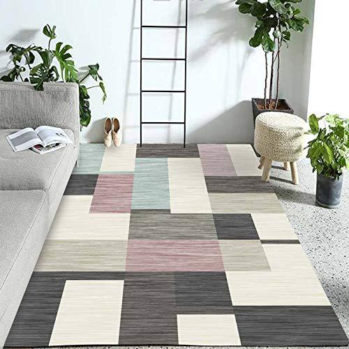 SN HUIPNEG Großer Bereich Teppich Wohnzimmer Schlafzimmer Teppiche Nordic Modern Geometrisches Muster Kinder Krabbelmatte Waschbar Rutschfest Teppich 40 x 60 cm