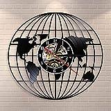 Mapa del Globo 3D de la Tierra Disco de Vinilo Arte de la Pared Regalos de Viaje Todo el Mundo Mapa de la Tierra Reloj de Pared Decorativo Reloj Vintage