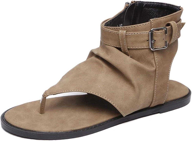 ADLISA Women's Retro PU Leather Open Toe T-Strap Flat Sandals Slingback Buckle Zipper Flip Flops shoes