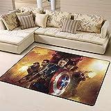 Wlkecgi Capitán América alfombra para el área al aire libre alfombra de camping para niños alfombra de suelo para sala de juegos dormitorios del Capitán América, poliéster, A, 4'x6'(120cmxG180cm)