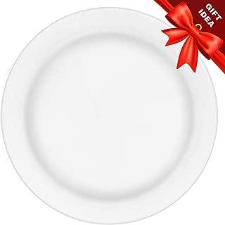 50 Premium White Plastic Plates for Dinner Party or Wedding - 10 Inch Fancy Disposable Plastics Plates Set