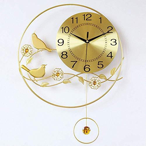 WYBW Novedad Decoración de pared, Reloj Reloj Creativo Minimalista Sala de estar Decorativo Reloj de pared de hierro Mute Quartz Continental 40Cm * 55Cm