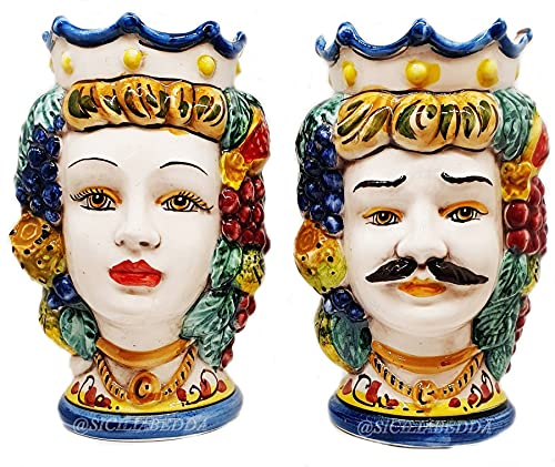sicilia bedda - Coppia Teste di Moro SICILIANE in Ceramica di CALTAGIRONE - Realizzate a Mano - H Centimetri 13 - Bellissimo Complemento d'Arredo