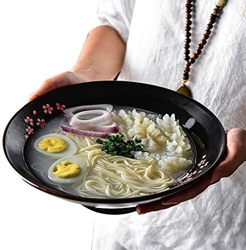 MUZIDP Ciotola in stile giapponese Ramen Ciotola da 10 Pollice Ceramica Zuppa Ciotola Creativa Nero Insalatiera Dipinta A Mano Stoviglie