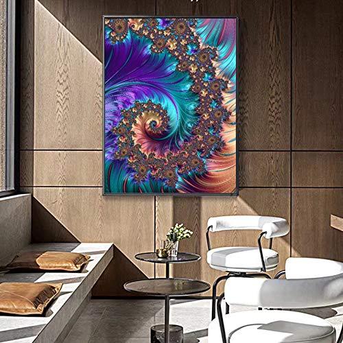 oioiu Arte Abstracto Creativo patrón Fractal Pintura al óleo Mural sobre Lienzo Imagen de Arte decoración del hogar Cartel Sala de Estar Dormitorio Pasillo Mural sin Marco