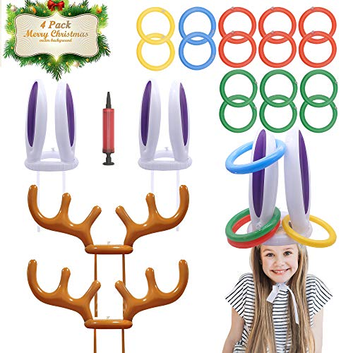 BeeTwo Ring Toss Game, Inflatable Bunny Ears Reindeer Antler Hat Toss Game for Kids Easter Christmas Party Indoor Outdoor Game (2 Antlers, 2 Rabbit Ears, 16 Rings, Include an Air Pump)