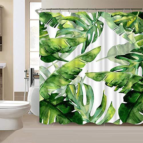 VividHome Green Plam Leaf Duschvorhang Tropische Bananen Palmenblätter wasserdichter Stoff Polyester Duschvorhänge Natur Kunstdruck 183 x 183 cm mit 12 Haken