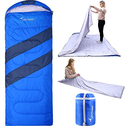 Sportneer Sleeping Bag Portable Large Sleeping Bags with Detachable Zipper Liner for Camping, Hiking, Backpacking, Fit 23°F-50°F
