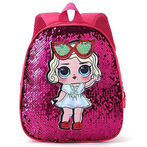 WRH Mochilas Infantiles Mochila de Lentejuelas Reversible Preescolar de Guardería Bolsas Escolares Ligera Impermeable con Adjustable Shoulder Strap Satchel De Viaje Casual Pink-OneSize