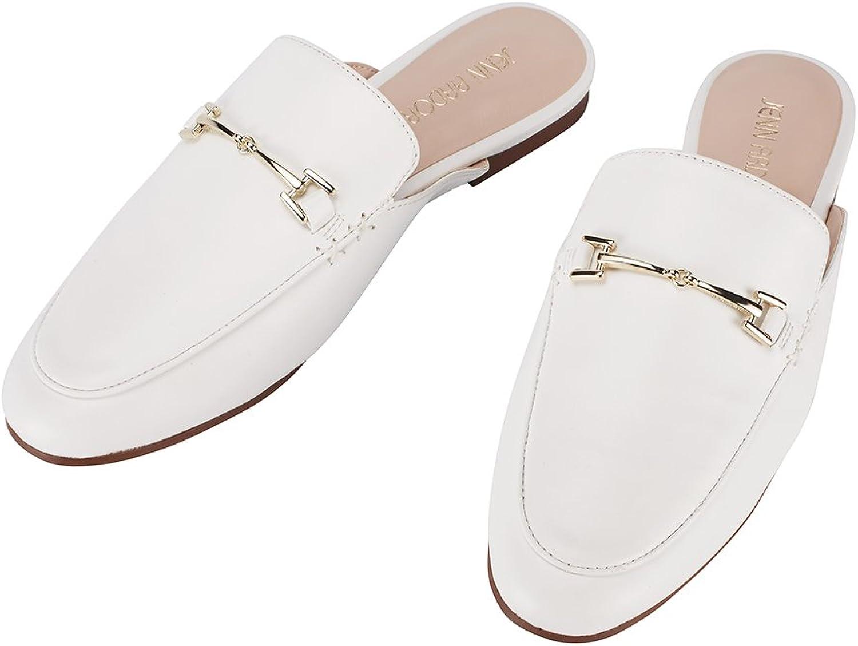 JENN ARDOR Women's Mule Flats shoes Pointed Toe Backless Slipper Slip On Loafer shoes