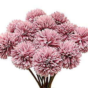 Aisamco 12pcs Artificial Chrysanthemum Ball Flowers with Stems Silk Hydrangea Arrangement Bouquet Artificial Flowers for Home Office Coffee House Parties and Wedding Decoration (Purple)