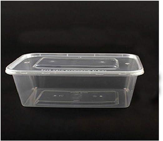 Xiao-bowl3 300 Cajas de Alimentos de preparación de envases de plástico fiambreras Tapas Desechables microondas Comida para Llevar Caja de Embalaje de Comida rápida 1250ML (Color : White): Amazon.es: Hogar
