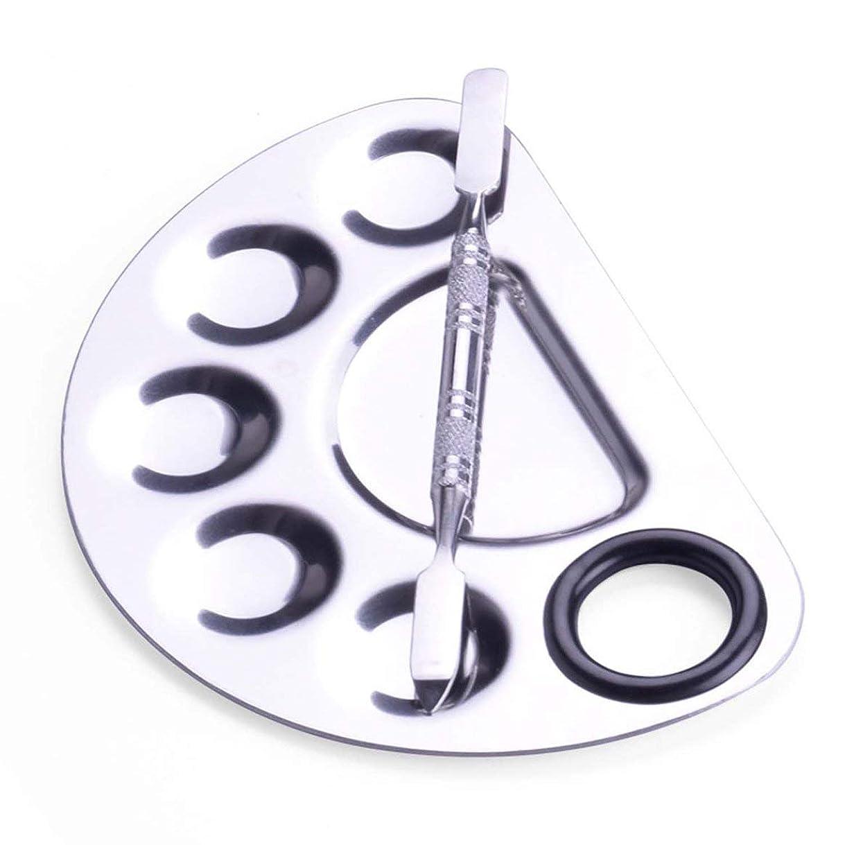 故障中興味プーノTinygrass メイクアップパレットヘラファッションステンレス鋼パレットメイクアップアーティストコスメティックファンデーションシェードキットをブレンドするためのツール(色:シルバー)