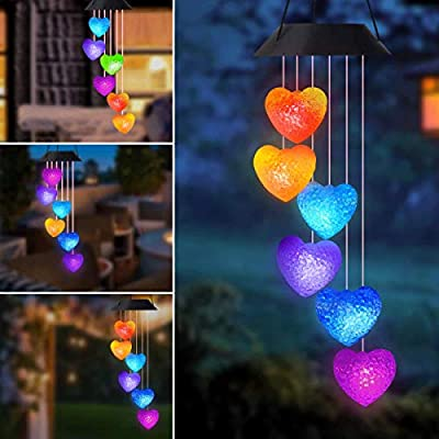 Greenke Heart Wind Chimes Solar Wind Chimes Outdoor Romantic Solar Chimes Color Changing Light Windchimes LED Solar Mobile Lights Valentines Gifts for Mom Girlfriend Woman Daughter