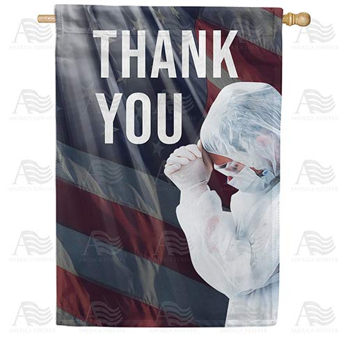 America Forever Flags Double Sided House Flag - America Says Thank you - 28' x 40', Thank You Healthcare Workers, Fight Against Covid-19 Coronavirus Pandemic Flag, Yard Outdoor
