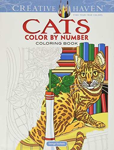 Creative Haven Cats Color by Number Coloring Book (Adult Coloring) (Creative Haven Coloring Books)