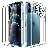 LK Cover Compatibile con iPhone 12 PRO Max Custodia, 2 Pezzi Pellicola Protettiva in Vetro Temperato & 2 Pezzi Pellicola Fotocamera, Morbido TPU Protezione Case-Trasparente
