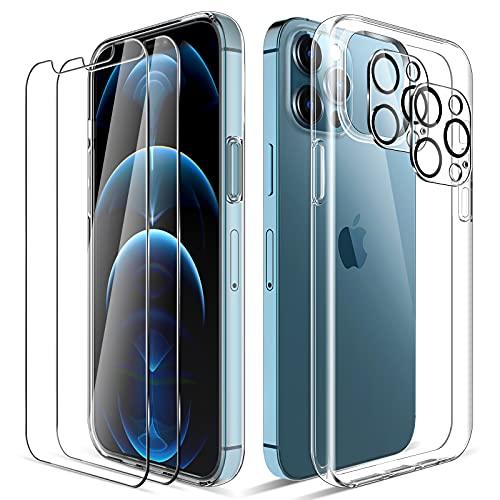 LK Compatible con iPhone 12 Pro MAX Funda, 2 Pack HD Cristal Protector de Pantalla y 2 Vidrio Templado Protector de Lente de cámara, Carcasa Suave TPU Silicona Cover - Clara