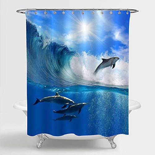 MitoVilla 3D-bedruckter Duschvorhang für Badezimmer-Dekoration, strapazierfähig, wasserdichtes Polyestergewebe, schimmelresistent, antimikrobiell 72