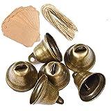 Awtlife 50 campanas vintage de bronce con etiqueta de tarjeta para campanas de viento para hacer manualidades, decoración de Navidad, boda, 38 mm