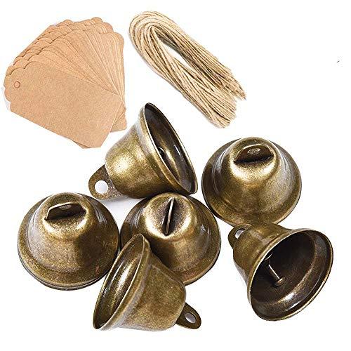 Awtlife Campanas vintage de tono bronce con etiqueta de tarjeta para campanillas de viento, manualidades, decoración de Navidad, boda, 50 unidades