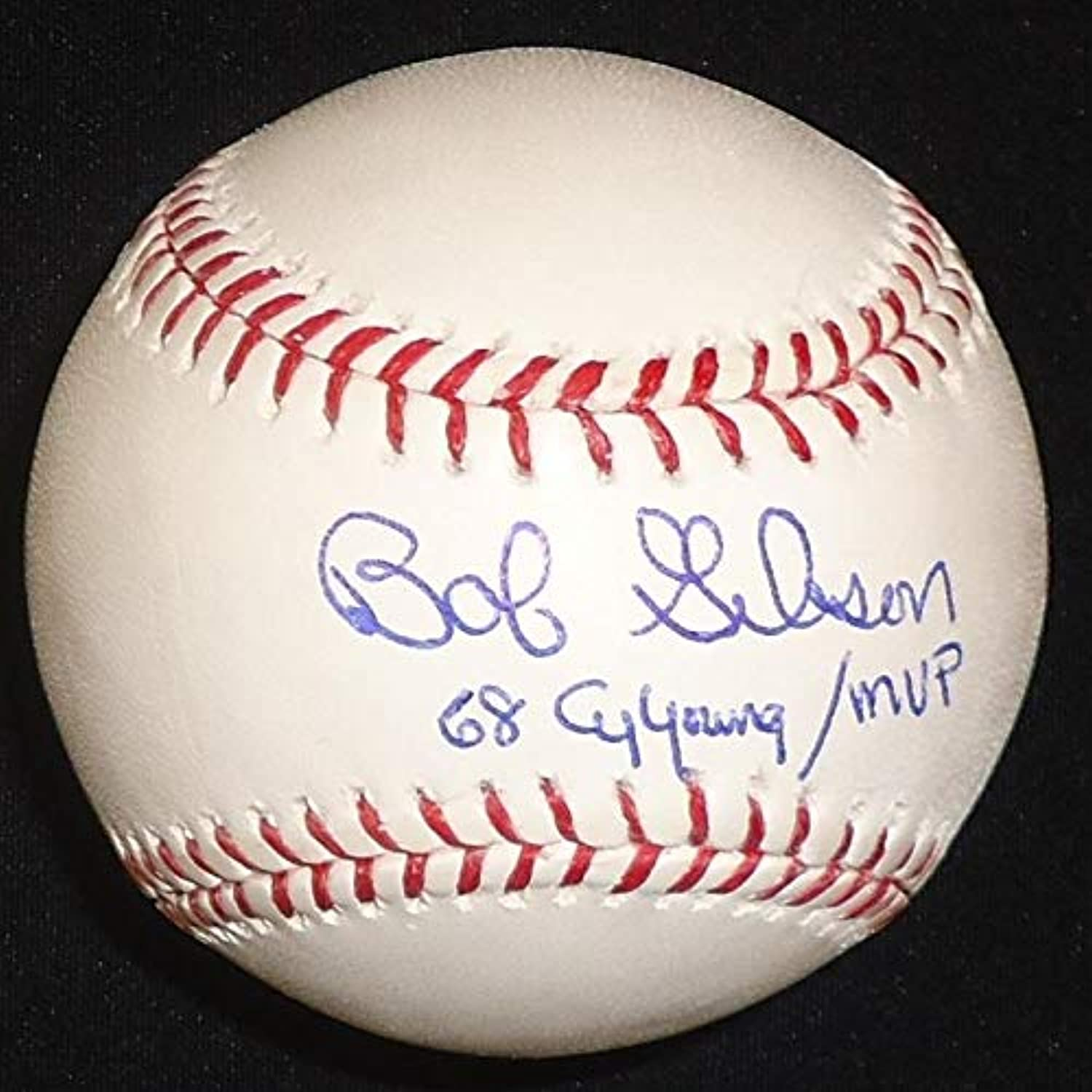 Bob Gibson Autographed Baseball  Official Major League Ball inscribed 68 Cy Young MVP  Autographed Baseballs