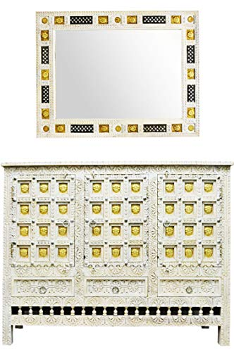 Oosterse commode sideboard Hasret inclusief spiegel wit goud | Orient vintage commodekast oosters met de hand versierd | Indiase landhuis dressoir van hout | Aziatische meubels uit India