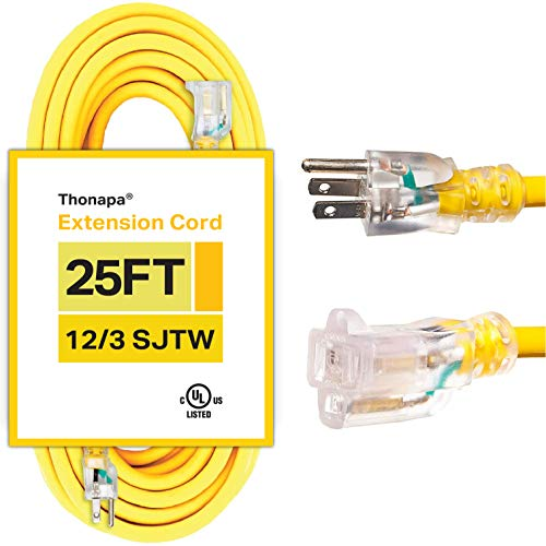 Thonapa 25 Foot Outdoor Extension Cord - 12/3 Heavy Duty Yellow Extension Cable with 3 Prong Grounded Plug for Safety - Great for Garden and Major Appliances