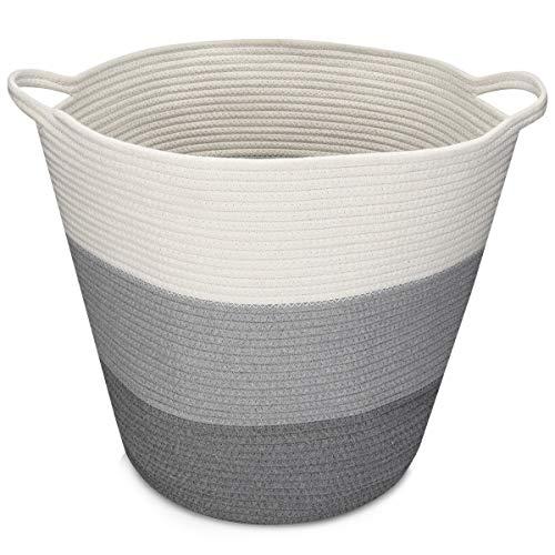 Navaris Cesta de Almacenamiento de Cuerda de algodón - Cesto Grande con asa para Colada organización decoración o Juguetes - Negro Gris y Blanco