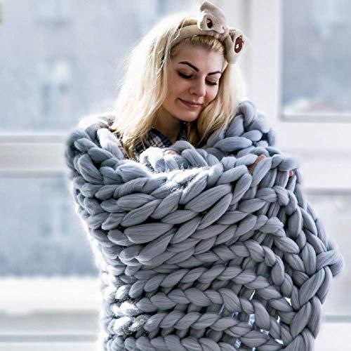 Manta de Punto Gruesa, Lana de Hilo, Muy Grande Tejida a Mano Manta para Mascotas Cama sofá Yoga Alfombra Gris 130×170cm