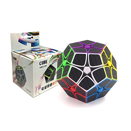 Wings of wind - Smooth Megaminx Cube 2x2x2 Dodecahedron Cube Funny Puzzle Juguetes educativos (Negro) (Fibra de Carbon 2x2)