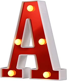 Samapet A LED Marquee Letter Lights Sign 26 Alphabet Light Up Marquee Letters Sign for Night Light Wedding Birthday Party Battery Powered Christmas Lamp Home Bar Decoration (A)