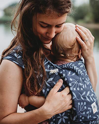 LIMAS Babytrage Halfbuckle | 50-86 cm | Bauchtrage & Rückentrage & Hüfttrage | ab Geburt bis Kleinkindalter | Baby Carrier | Flora Midnight Blue