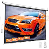 Bomaker 100 inch Motorized Projector Screen, Projection Screen 4K HD, Anti-Crease Portable Screen, 16:9, Wireless Remote, Use for Indoor/Outdoor Activities, Home Movie Theater, Business Presentation