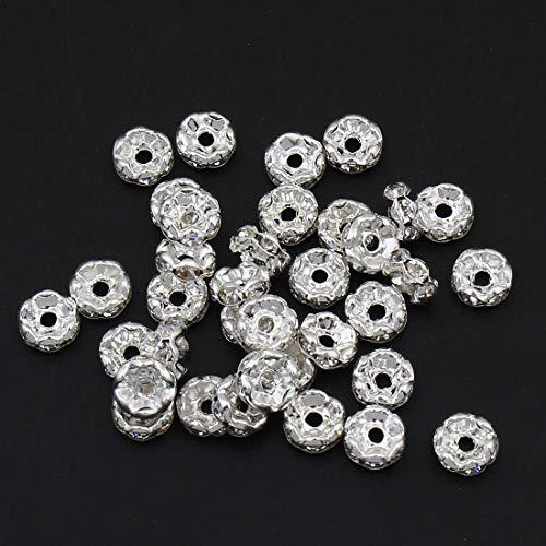50stk Kristall Strass 6mm Rondelle Spacer Perlen Gewellt Ton Silberfarbe Messing Metallperle perlen A Qualität Strassperlen Strasssteine R25