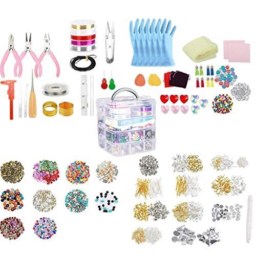 Suministros fabricación de joyas pendiente DIY Kit Set con cuentas Alicates rebordeando el alambre para los pendientes de la pulsera del collar 2035PCS rebordeando el alambre de la pulsera del collar