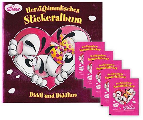 Diddl und Diddlina Herzighimmlische Sammelsticker - Sammelset Album + 5 Booster Tütchen - 25 Sticker deutsche Ausgabe