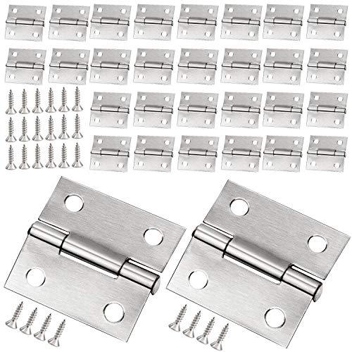 Winfred 30 Piezas Mini Bisagras 25mm Conectores de Bisagras de Acero Inoxidable para Caja de Madera Gabinete de Muebles en Miniatura Joyeros con 120 Tornillos Pequeñas