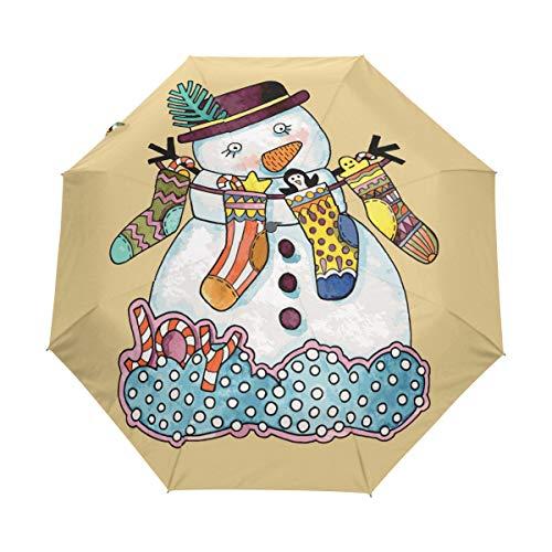 Chaussettes Bonhomme De Neige Parapluie Pliable Pliant à Ouverture Automatique Protection UV Parapluies Pliant Coupe-Vent pour Voyager Plage Femmes Enfants Homme Fille