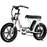 Addmotor MOTAN Electric Bike, 750W E-Bike, Step-Through 20'' Fat Tire Beach Cruiser Mountain M-66 R7 Adult Bikes with 48V 14Ah Lithium Battery, Fenders, Headlight, 7 Speeds Gear (Pearl White)